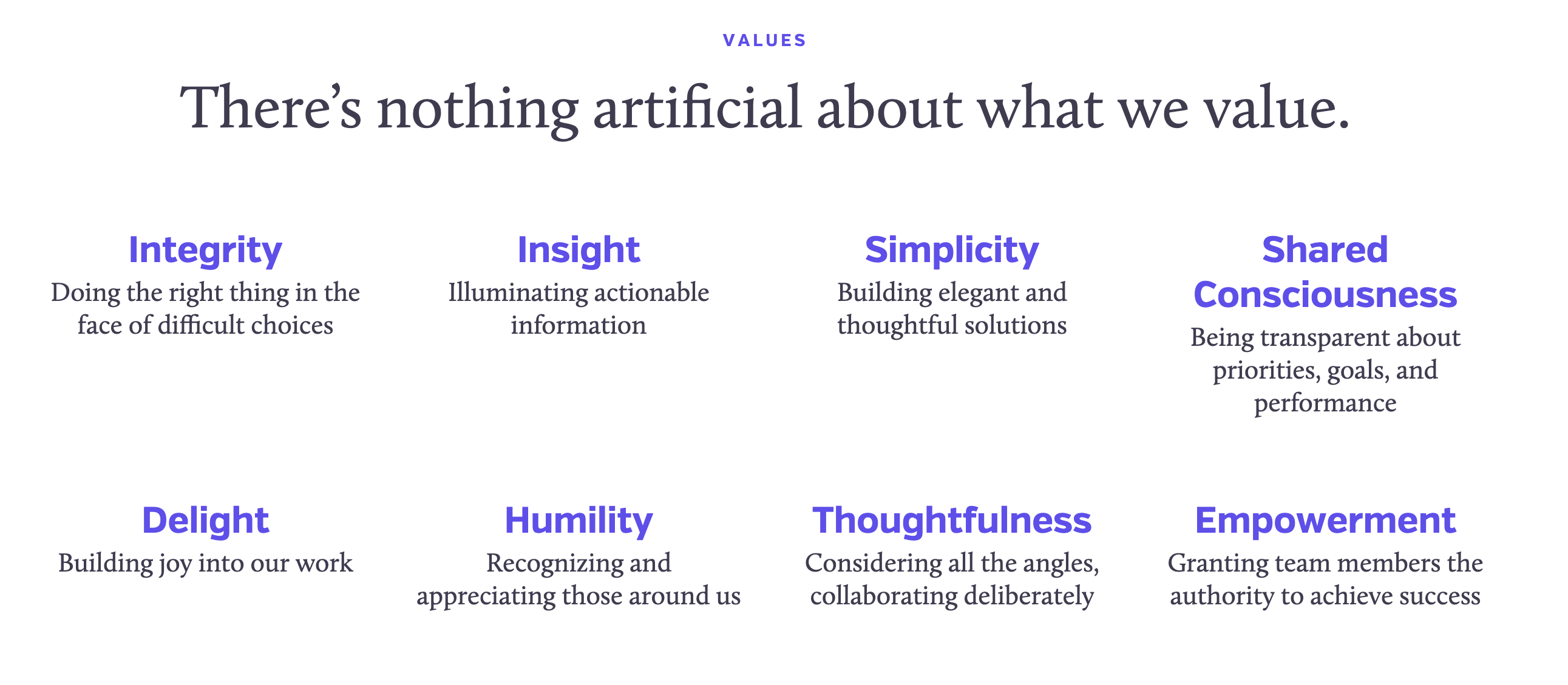 ValuesNothingArtificial